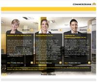 Auswahlmöglichkeit verschiedener Ausbildungsberufe bei der Commerzbank
