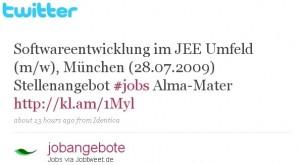Abbildung eines Jobtweets