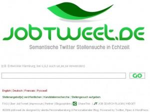 Jobtweet - Suchmaschine für Stellenangebote, die über Twitter gepostet wurden