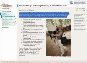 Screenshot HAW Navigator Bekleidung - Technik und Management
