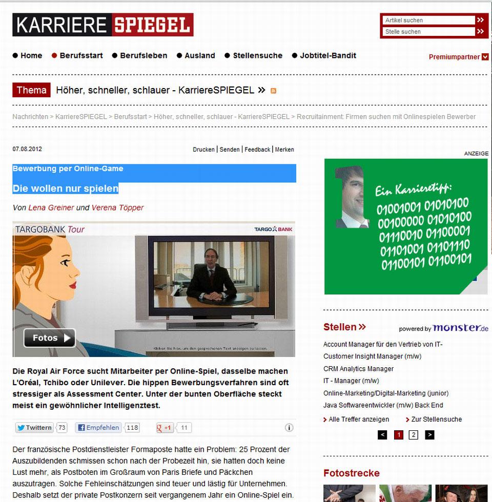Artikel ber recrutainment in verschiedenen leitmedien for Spiegel karriere