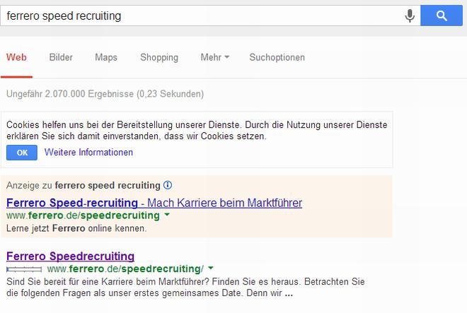 Speedrecruiting_Ferrero_Googlesuche