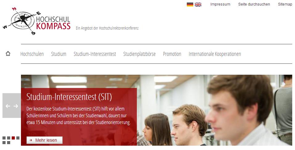 Hochschulkompass_Startscreen
