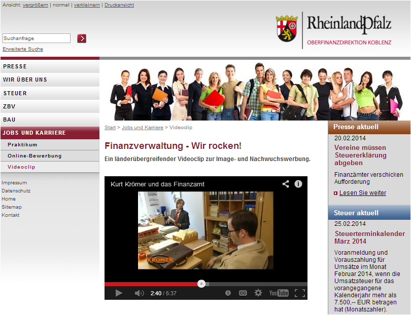 YoutubeEinbindung_Video_Oberfinanzdirektion_Koblenz