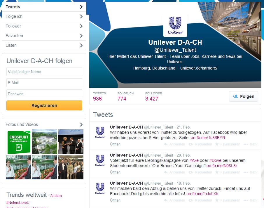 Unilever_beendet_CorporateCareerTwitterkanal