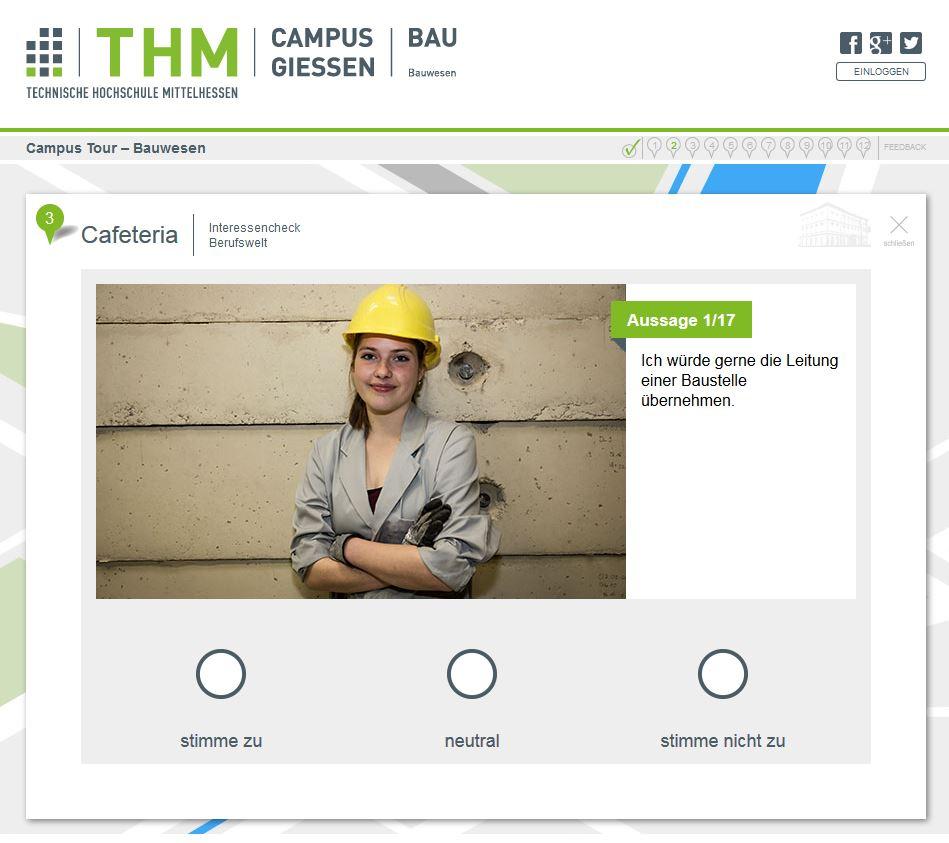 SelfAssessment innerhalb der THM Campus Tour