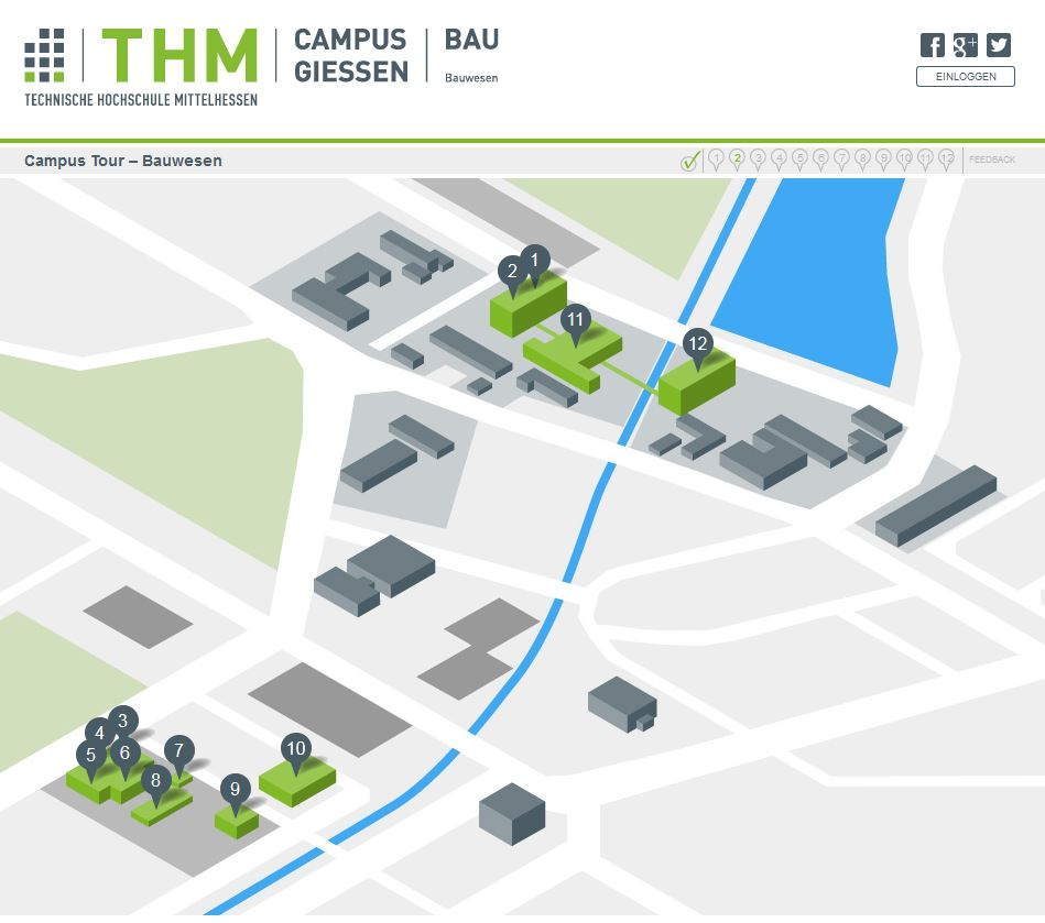 Campusplan in der THM Campus Tour