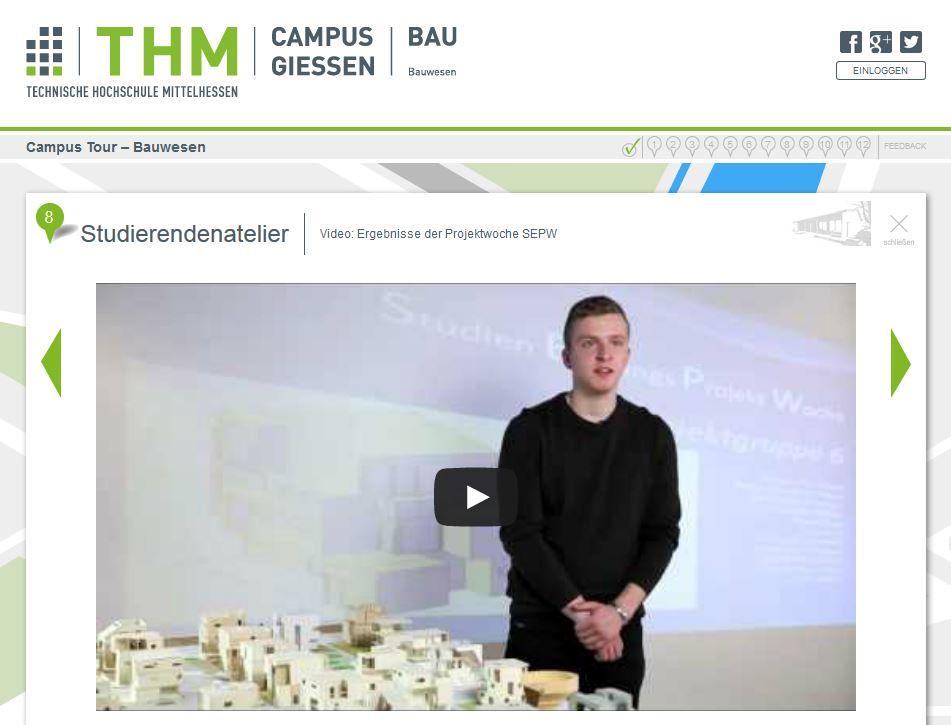 Ein Studierender berichtet im Videointerview über die Projektarbeit an der THM