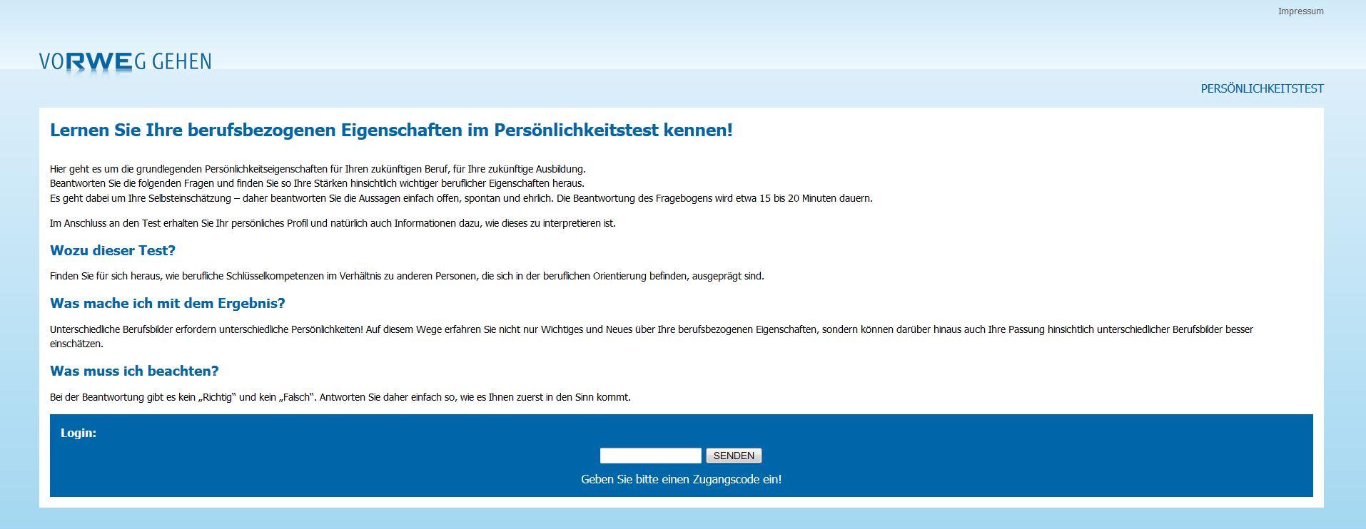 Startseite des RWE JobPersonality