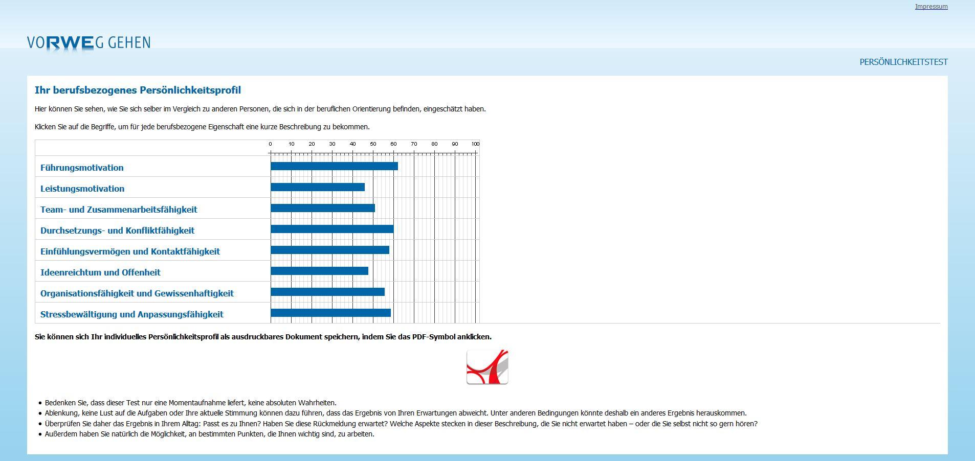 Ansicht des RWE JobPersonality