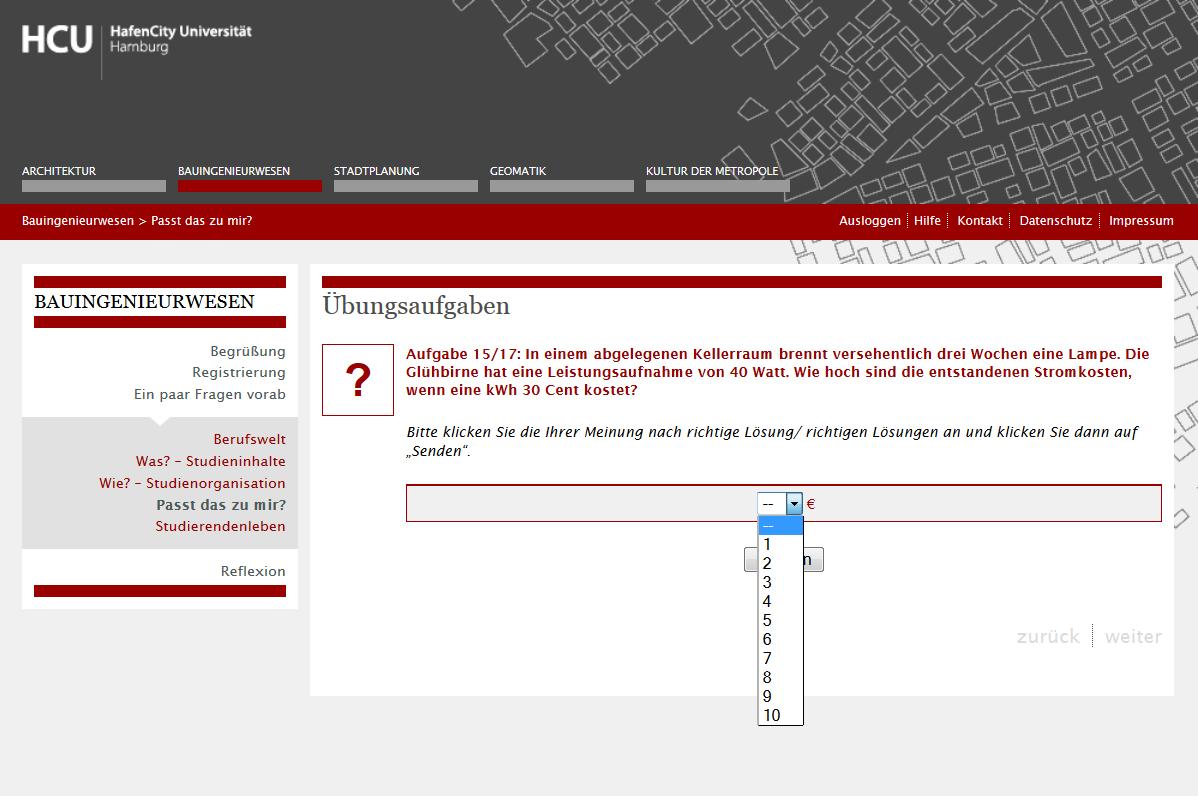 Aufgabe Stromkosten Bauingenieurwesen HCU Hamburg