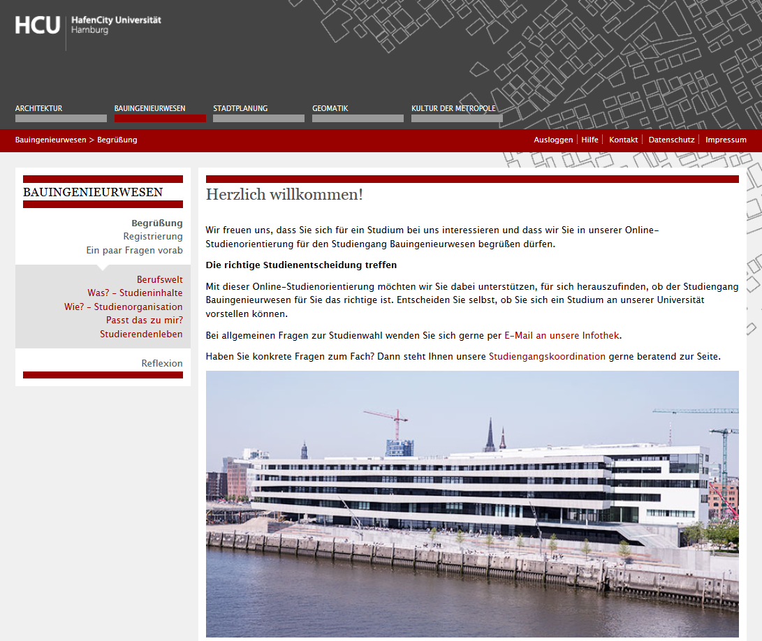 Begrüßung Online-Studienorientierung Bauingenieurwesen HCU Hamburg