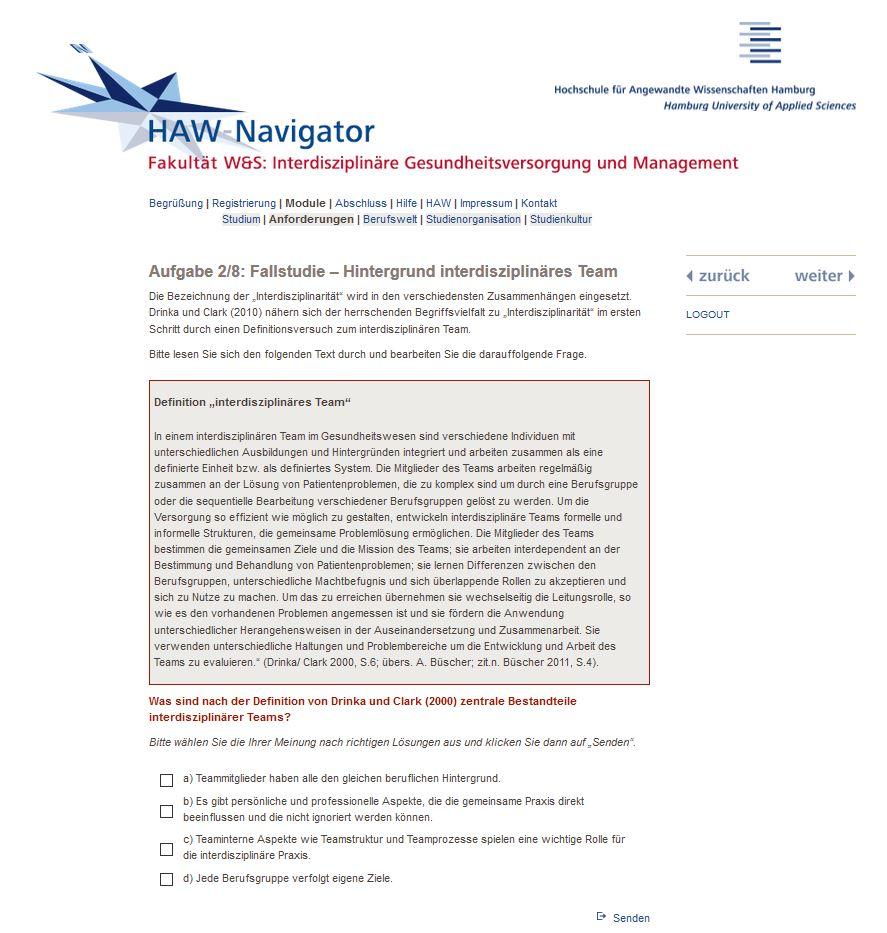 Screenshot HAW-Navigator IGM